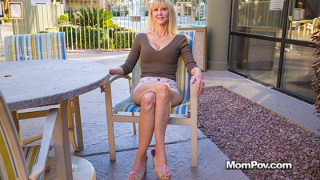 MomPOV – Busty blonde cougar does first porn – Cait