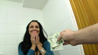 PublicAgent – Stranger Bends Brunette's Ass Over And Fucks In A Bathroom Stall – Clair Brooks, Martin Gun